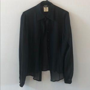 Dolce and Gabbana black silk texture blouse